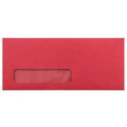 """JAM Paper® Single-Window Booklet Envelopes With Gummed Closure, #10 4 1/8"""" x 9 1/2"""", Red, Pack Of 25"""