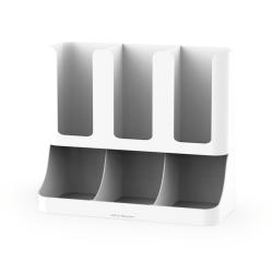 "Mind Reader 'Flume' 6-Compartment Coffee Condiment Organizer, 11 1/8""H x 13 1/2""W x 4 1/4""D, White"