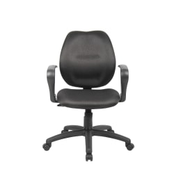 Boss Contour Back Task Chair With Loop Arms, Black