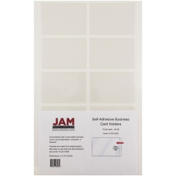 "JAM Paper® Self-Adhesive Business Card Holders, 2"" x 3 1/2"", Clear, Pack Of 10"