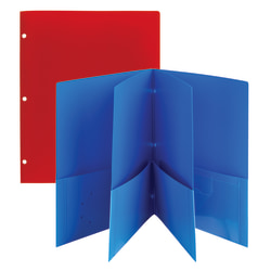 Office Depot® Brand 6-Pocket Poly Folders, Letter Size, Assorted Colors, Pack Of 2