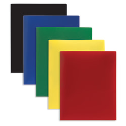 Office Depot® Brand 2-Pocket Poly Folders, Letter Size, Assorted Colors, Pack Of 10