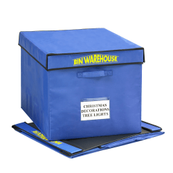 "Bin Warehouse Fold-A-Tote, 22-Gallon Capacity, 15 1/2"" x 16 1/2"" x 20"", Blue, Pack Of 4"