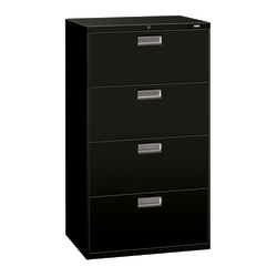 "HON® Brigade® 600 36""W Lateral 4-Drawer File Cabinet, Metal, Black"