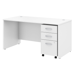 "Bush Business Furniture Studio C Office Desk with Mobile File Cabinet, 60""W x 30""D, White, Standard Delivery"