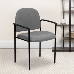Flash Furniture Comfortable Stackable Steel Side Chair With Arms, Gray/Black