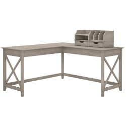 """Bush Furniture Key West 60""""W L Shaped Desk with Desktop Organizers, Washed Gray, Standard Delivery"""