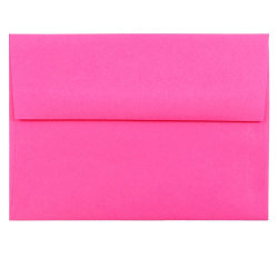 """JAM Paper® Booklet Invitation Envelopes, A6, 4 3/4"""" x 6 1/2"""", Fuchsia Pink, Pack Of 25"""