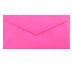 """JAM Paper® Booklet Envelopes, #7 3/4 Monarch, Straight Flap, 3 7/8"""" x 7 1/2"""", Fuchsia Hot Pink, Pack Of 25"""