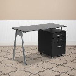 Flash Furniture Glass Computer Desk With 3- Drawer Pedestal, Black/Clear