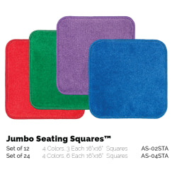 """Flagship Carpets Jumbo Seating Squares, 16"""" x 16"""", Multicolor, Set Of 12"""