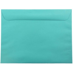 "JAM Paper® Booklet Envelopes With Gummed Closure, 9"" x 12"", 30% Recycled, Sea Blue, Pack Of 25"