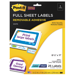 Post-it Super Sticky Universal-Etiketten f/ür Inkjet Laser Kopierer 250 Etiketten 96 x 50.8 mm