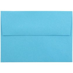 "JAM Paper® Booklet Envelopes With Gummed Closure (Recycled), 4 Bar A1, 3 5/8"" x 5 1/8"", 30% Recycled, Blue, Pack Of 25"