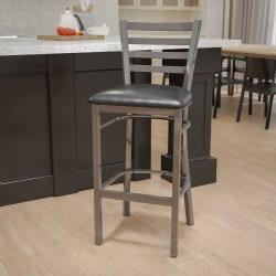 Flash Furniture Ladder-Back Restaurant Bar Stool, Black