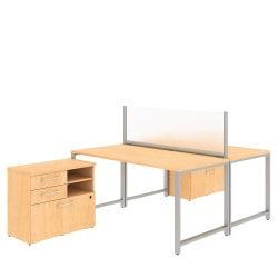 """Bush Business Furniture 400 Series 2-Person Workstation With Table Desks And Storage, 60""""W x 30""""D, Natural Maple, Standard Delivery"""