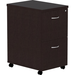 "Lorell® Essentials 22""D Vertical 2-Drawer Mobile Pedestal File Cabinet, Espresso"