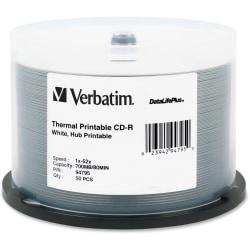 Verbatim CD-R 700MB 52X DataLifePlus White Thermal Printable, Hub Printable - 50pk Spindle - Printable - Thermal Printable
