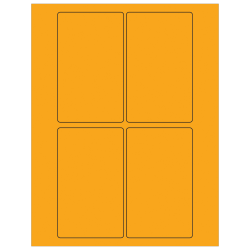 """Office Depot® Brand Labels, LL175OR, Rectangle, 3"""" x 5"""", Fluorescent Orange, Case Of 400"""