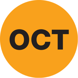 "Tape Logic® Orange - ""OCT"" Months of the Year Labels 1"", DL6732, Roll of 500"