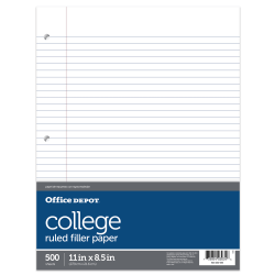 "Office Depot® Brand Ruled Filler Paper, 8 1/2"" x 11"", 3-Hole Punched, 16 Lb, College Ruled With Margin, Ream Of 500 Sheets"