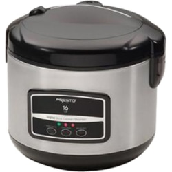 Presto® 16-Cup Digital Stainless Steel Rice Cooker/Steamer, Silver/Black