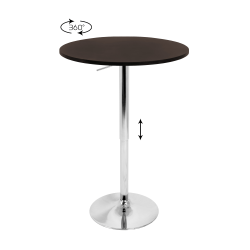 LumiSource Adjustable Bar Table, Silver/Brown