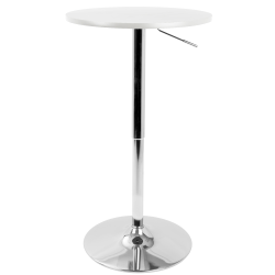 LumiSource Adjustable Bar Table, Silver/White