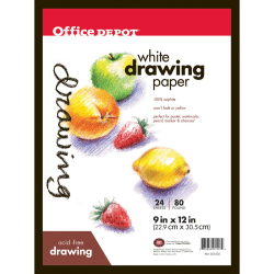 "Office Depot® Brand Sketch Pad, 9"" x 12"", 80 Lb, 24 Sheets"