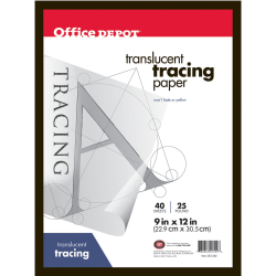 "Office Depot® Brand Tracing Pad, 9"" x 12"", 40 Sheets"