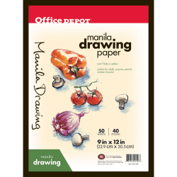 "Office Depot® Brand Manila Drawing Paper, 9"" x 12"", 40 Lb, 50 Sheets"