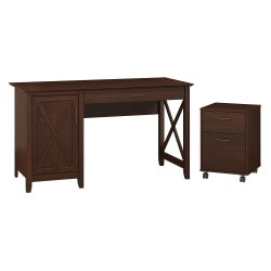 """Bush Furniture Key West 54""""W Computer Desk With Storage And 2 Drawer Mobile File Cabinet, Bing Cherry, Standard Delivery"""