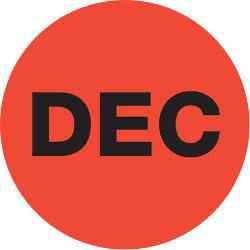 """Tape Logic® Red - """"DEC"""" Months of the Year Labels 2"""", DL6748, Roll of 500"""