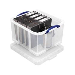 "Really Useful Box® Plastic Storage Box, 42 Liters, 12""H x 14""W x 20""D, Clear"