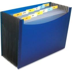 """C-Line 13-Pocket Polypropylene Expanding File With 12 Dividers, 9"""" Expansion, Letter Size, Blue"""