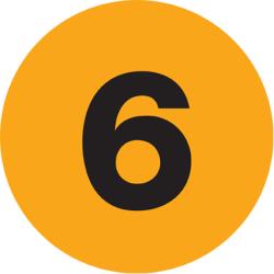 """Tape Logic® Fluorescent Orange - """"6"""" Number Labels 1"""", DL6756, Roll of 500"""