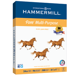 """Hammermill® Fore Multi-Use Paper, Letter Size (8 1/2"""" x 11""""), 24 Lb, Ream Of 500 Sheets"""
