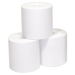 "Single-Ply Thermal Paper Rolls, 3 1/8"" x 230', White, Pack Of 50 Rolls"
