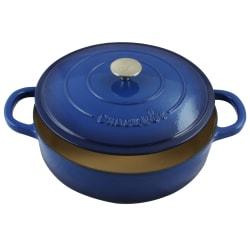 Crock-Pot Artisan Enameled 5-Quart Cast Iron Braiser Pan, Sapphire Blue
