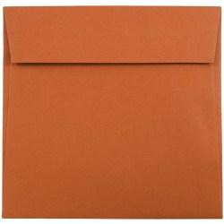 "JAM Paper® Color Square Invitation Envelopes, 6"" x 6"", Dark Orange, Pack Of 25"