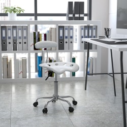 Flash Furniture Vibrant Low-Back Task Chair With Tractor Seat, Silver/Chrome