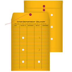"""Quality Park® Interdepartment String & Button Closure Envelopes, 9"""" x 12"""", 1-Sided Narrow Rule, Brown, Box Of 100"""