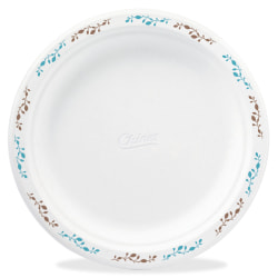 """Chinet Compostable Round Vines Plates - 8.75"""" Diameter Plate - Molded Fiber Plate - Disposable - Microwave Safe - 500 Piece(s) / Carton"""