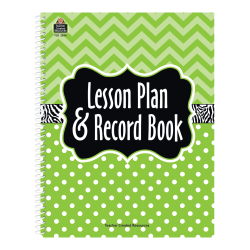 Teacher Created Resources Lesson Plan And Record Books, Lime Chevrons And Dots, Pack Of 2