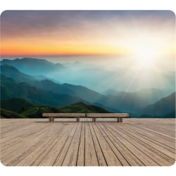 "Fellowes Recycled Mouse Pad - Mountain Sunrise - Mountain Sunrise - 8"" x 9"" x 0.06"" Dimension - Multicolor - Rubber Base - Slip Resistant, Scratch Resistant, Skid Proof"