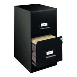 "Realspace® 18""D Vertical 2-Drawer File Cabinet, Metal, Black"