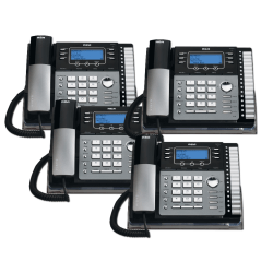 Telefield RCA 4-Line Expandable Corded Phone System With Digital Answering System, RCA-4DSKBNDL