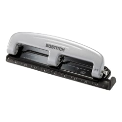 Bostitch® EZ Squeeze™ Three-Hole Punch, 12 Sheet Capacity, Black/Silver