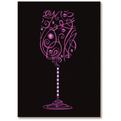 """Viabella Birthday Greeting Card With Envelope, Wine Glass, 5"""" x 7"""""""