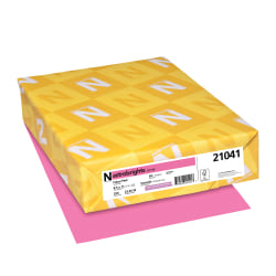"""Astrobrights® Colored Card Stock, Bright Color Cover Paper, 8 1/2"""" x 11"""", FSC® Certified, 65 Lb, Pulsar Pink™, Pack Of 250 Sheets"""